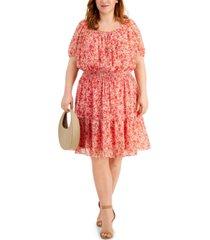 taylor plus size square-neck peasant dress