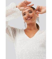 na-kd party balloon sleeve sequin mini dress - white