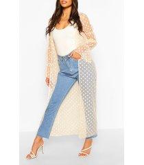 dobby mesh shirred sleeve maxi kimono, cream