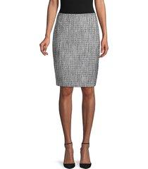 karl lagerfeld paris women's tweed pencil skirt - steel - size 14