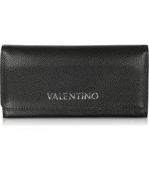 valentino by mario valentino designer wallets, divina black grainy eco leather flap wallet