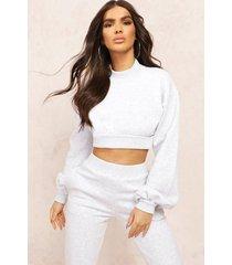 mix & match high neck deep waist crop sweater, grey marl