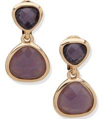 anne klein gold-tone purple double drop clip-on earrings