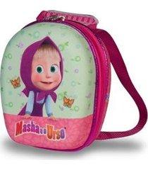 mochila escolar 3d com rodinhas maxtoy masha e o urso feminina