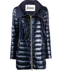 herno drawstring-neck quilted down coat - blue