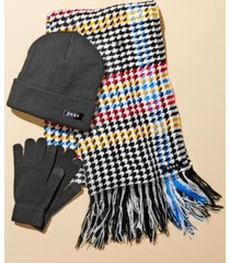 dkny 3-pc. hat, gloves & houndstooth scarf set