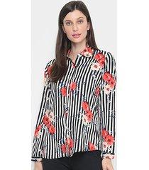 camisa charm lady listrada floral feminina