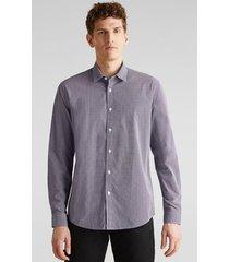 camisa slim con textura gris esprit