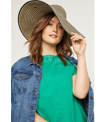 lane bryant women's floppy hat - striped onesz black