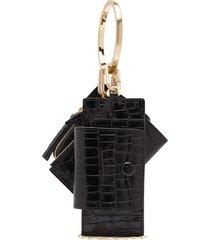 banglering crocodile-effect leather clutch bag