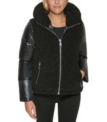 calvin klein hooded mixed-media puffer coat