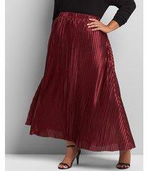 lane bryant women's metallic pleated midi skirt 22/24 wine
