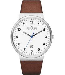 reloj skagen  ancher white dial brown leather - hombre
