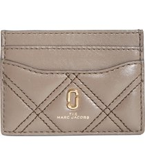 women's the marc jacobs quilted leather card case - grey