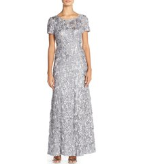alex evenings embellished lace a-line gown, size 8 in dove at nordstrom