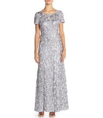 women's alex evenings embellished lace gown, size 6 - ivory