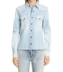 saint laurent classic denim western shirt, size x-small in chalk blue at nordstrom