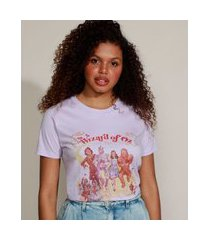 t-shirt feminina mindset o mágico de oz manga curta decote redondo lilás