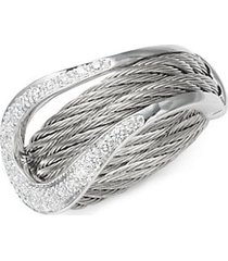 18k white gold & sterling silver diamond statement ring