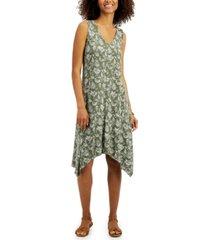 style & co printed handkerchief hem dress, created for macy's
