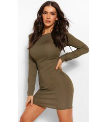 rib mini dress with shoulder pads, olive