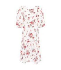 vestido midi puff floral - off white