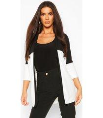 lichte duster jas met contrasterend paneel, wit