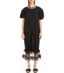 women's simone rocha tulle puff t-shirt dress, size medium - black