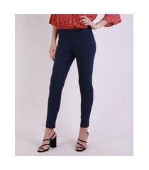 calça legging feminina social cintura alta azul marinho