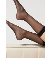 calzedonia 20 denier 3/4 length sheer socks woman black size tu