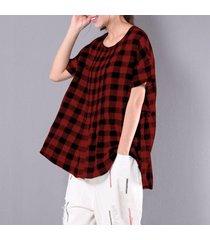 zanzea ocio scoop neck manga corta jerséis plisados sueltos mujeres verano retro algodón lino check blusa irregular rojo -rojo