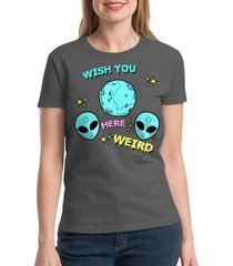 wish you weird here women's charcoal t-shirt new sizes s-2xl