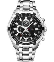 reloj de cuarzo analogico militar curren 8023 plateado negro