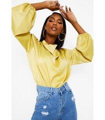 satijnen blouse met schouderpads en waterval hals, mustard