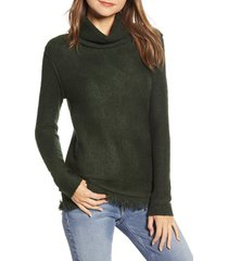 women's beachlunchlounge fringe finish cowl neck sweater, size x-large - green
