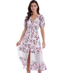 vestido floral encaje blanco nicopoly