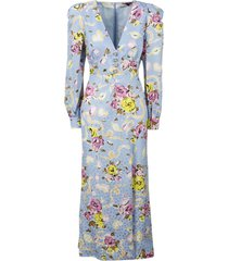 alessandra rich printed silk long dress