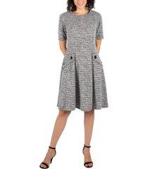 robbie bee petite heather-knit fit & flare sweater dress