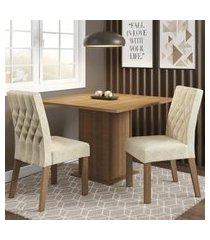 conjunto sala de jantar madesa maju mesa tampo de madeira com 2 cadeiras marrom