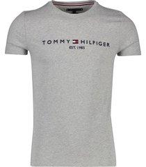 tommy hilfiger t-shirt grijs met logo ronde hals