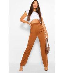 tall getailleerde geweven broek met hoge taille, tan
