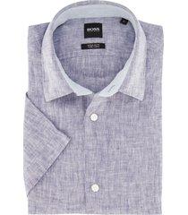 hugo boss korte mouw overhemd blauw linnen