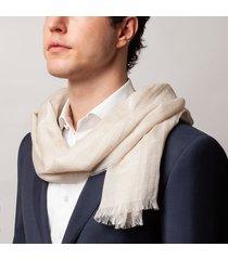 sciarpa da uomo, maalbi, cashmere seta ecrù, quattro stagioni | lanieri