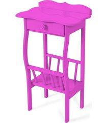 mesa lateral apoio sala revisteiro lilã¡s - rosa - dafiti