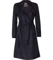 trench coat feminino em suede com amarraã‡ão - preto - feminino - dafiti