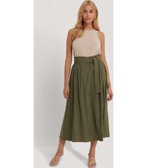 mango kjol med knytning - green