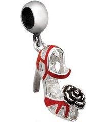berloque de prata sapato preto com flor moments