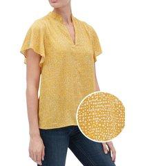 blusa flutter manga corta amarillo gap