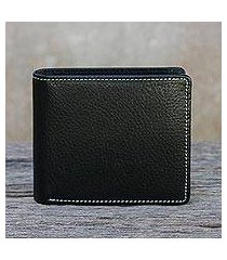 men's leather wallet, 'classic in jet black' (thailand)