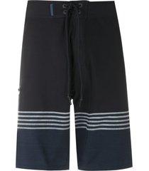 track & field surf ultramax striped swim shorts - black